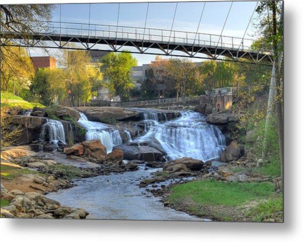 Liberty Bridge In Downtown Greenville Sc  Falls Park Metal Print