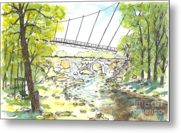 Liberty Bridge With Swing Metal Print