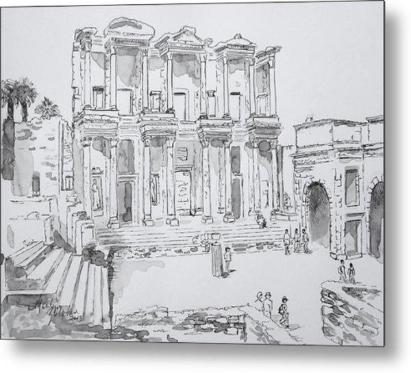Library At Ephesus Metal Print