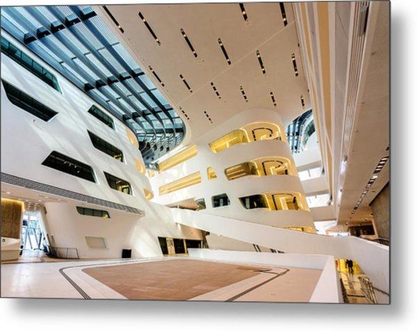 Metal Print featuring the photograph Library Interior 2  Zaha Hadid Wu Campus Vienna  by Menega Sabidussi