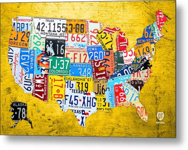 License Plate Art Map Of The United States On Yellow Board Metal Print
