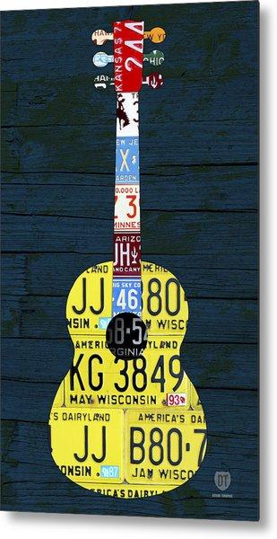 License Plate Guitar Edition 2 Vintage Recycled Metal Art On Wood Metal Print