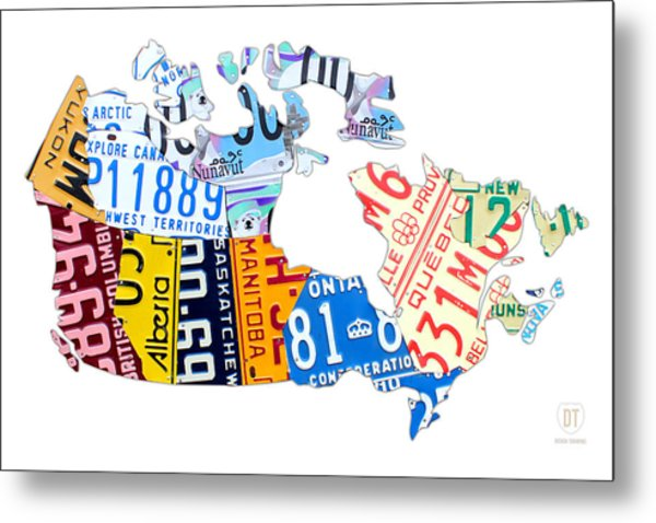 License Plate Map Of Canada On White Metal Print