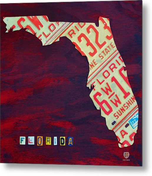 License Plate Map Of Florida By Design Turnpike Metal Print