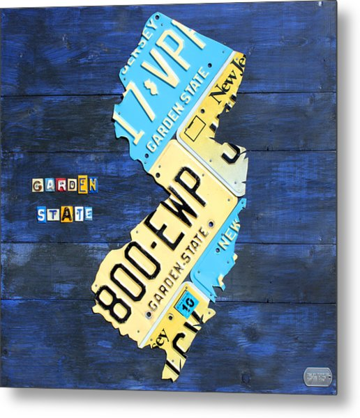 License Plate Map Of New Jersey V2 By Design Turnpike Metal Print