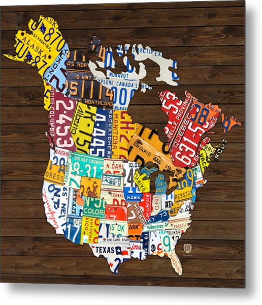 License Plate Map Of North America - Canada And United States Metal Print