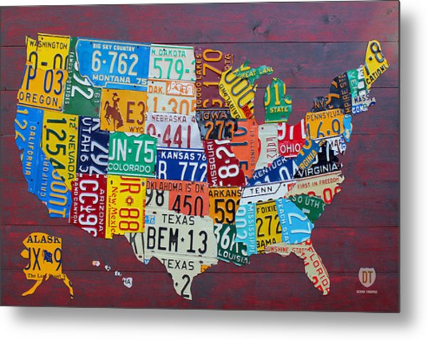 License Plate Map Of The United States Metal Print