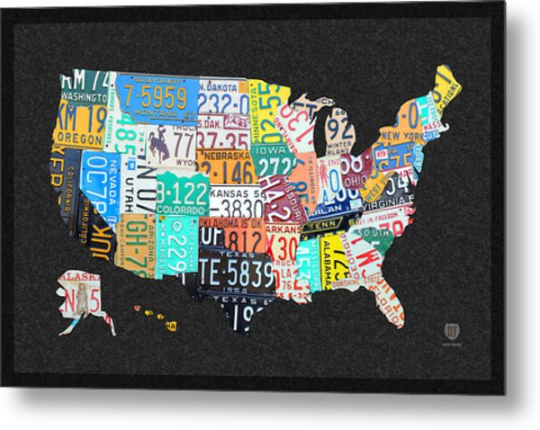 License Plate Map Of The United States On Gray Felt With Black Box Frame Edition 14 Metal Print