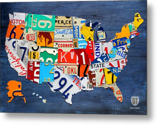 License Plate Map Of The United States - Small On Blue Metal Print