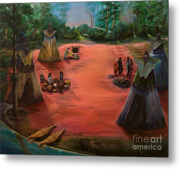 Life In An American Indian Village Metal Print