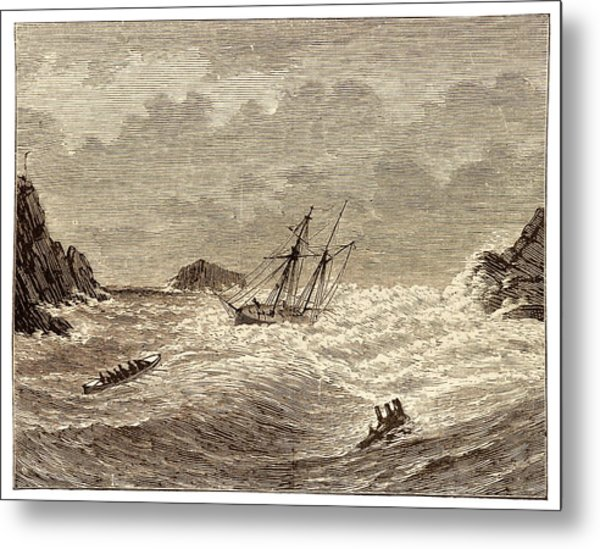 Lifeboat Approaching A Wreck Metal Print