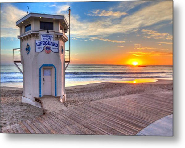Lifeguard Tower On Main Beach Metal Print