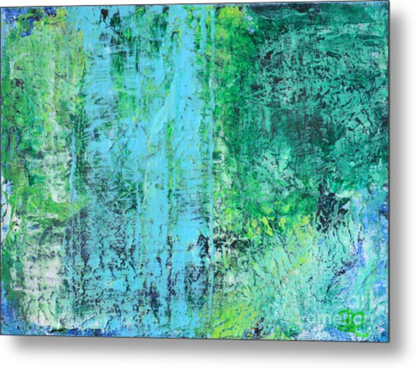 Light Blue Green Abstract Explore By Chakramoon Metal Print by Belinda Capol