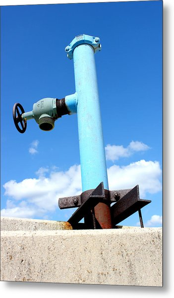 Light Blue Pipe Industrial Decay Series No 005 Metal Print