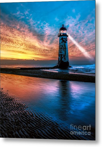 Light House Sunset Metal Print