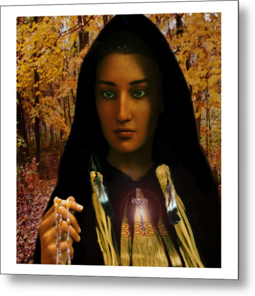 Saint Kateri Tekakwitha Light In The Darkness Metal Print