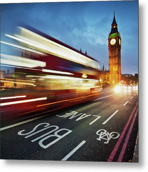 Light Trails On Westminster Bridge With Metal Print by Ricardolr