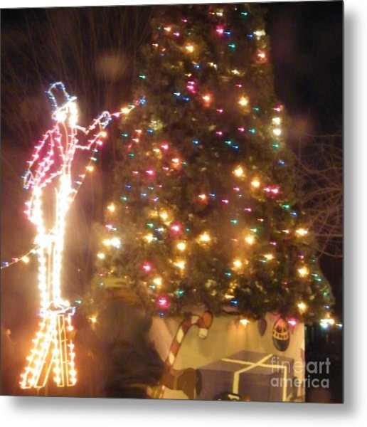 Lighted Decorating Of Tree Metal Print