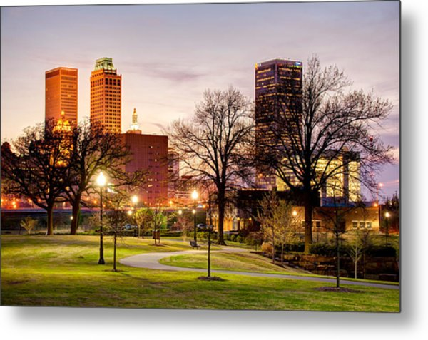 Lighted Walkway To The Tulsa Oklahoma Skyline Metal Print