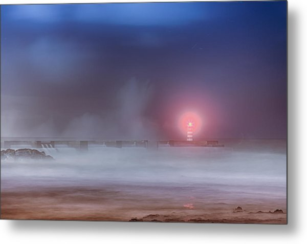 Lighthouse And Big Waves Metal Print