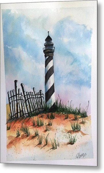 Lighthouse And Fence Metal Print