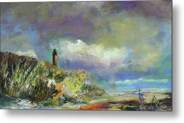 Lighthouse And Fisherman Metal Print