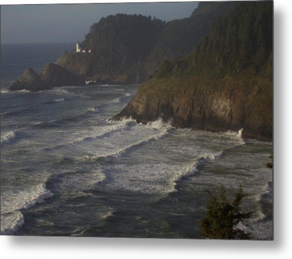 Lighthouse At Dusk Metal Print by Yvette Pichette