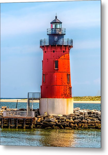 Lighthouse At The Delaware Breakwater Metal Print