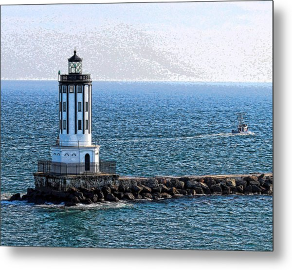 Lighthouse At The Port Of Los Angeles Metal Print