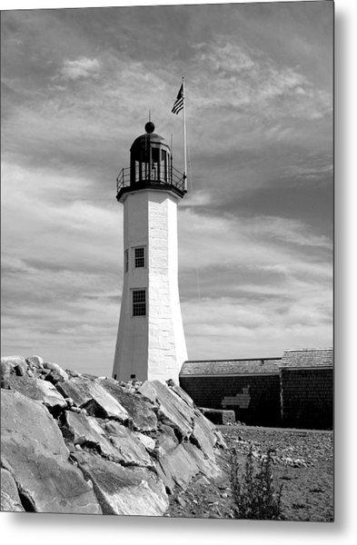 Lighthouse Black And White Metal Print