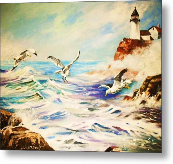 Lighthouse Gulls And Waves Metal Print