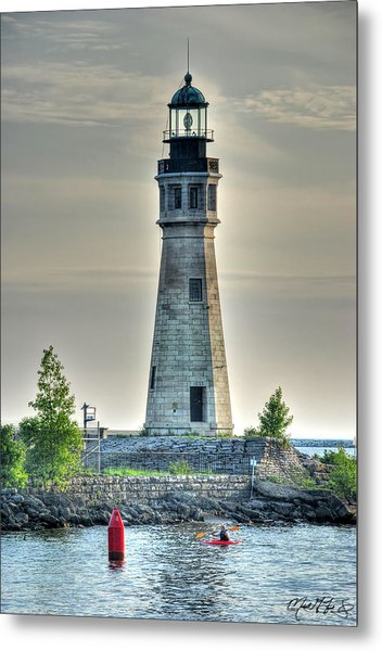 Lighthouse Just Before Sunset At Erie Basin Marina Metal Print