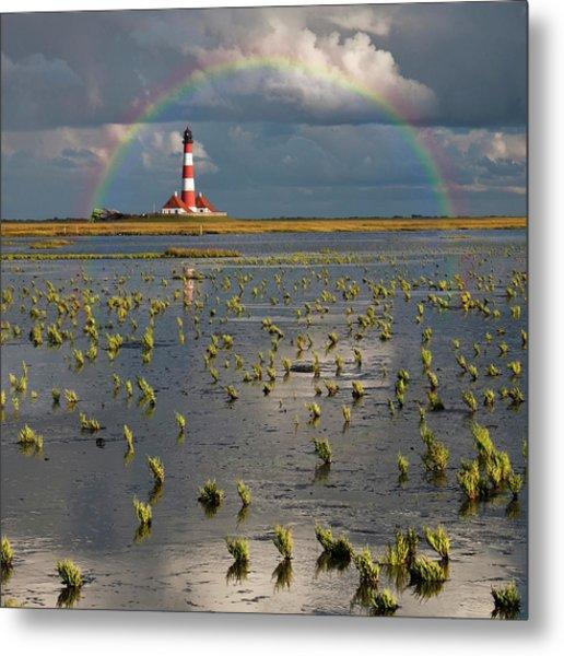 Lighthouse Meets Rainbow Metal Print