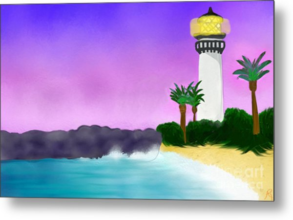 Lighthouse On Beach Metal Print