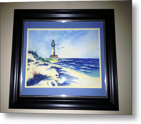 Lighthouse On The Point Sold Metal Print