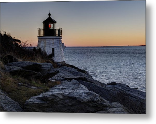 Lighthouse On The Rocks At Castle Hill Metal Print