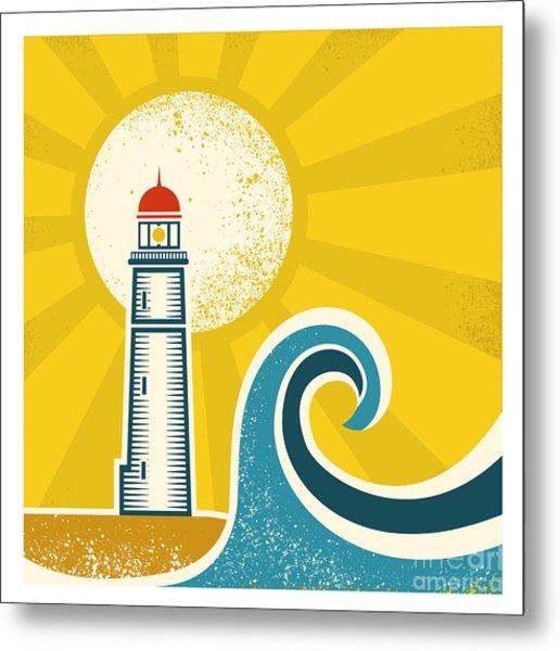 Lighthouse Poster.vector Vintage Metal Print