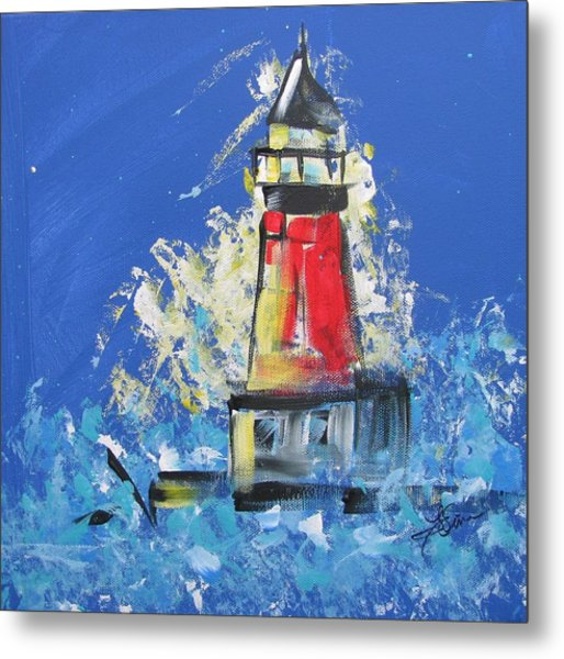 Lighthouse Splash Metal Print
