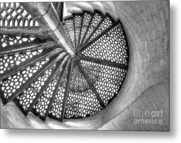 Lighthouse Stairs In Black And White Metal Print