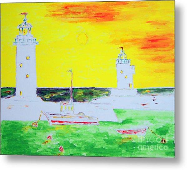 Lighthouses True Trinity Metal Print