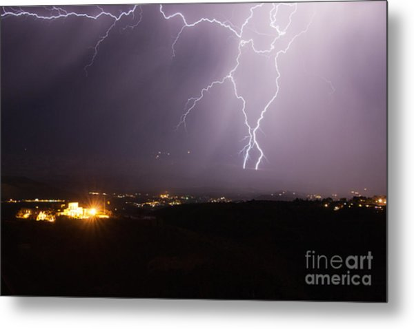 Lightning And The Douglas Mansion In Jerome Arizona Metal Print