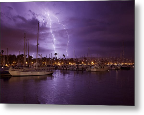 Lightning Behind Santa Barbara Harbor  Mg_6541 Metal Print