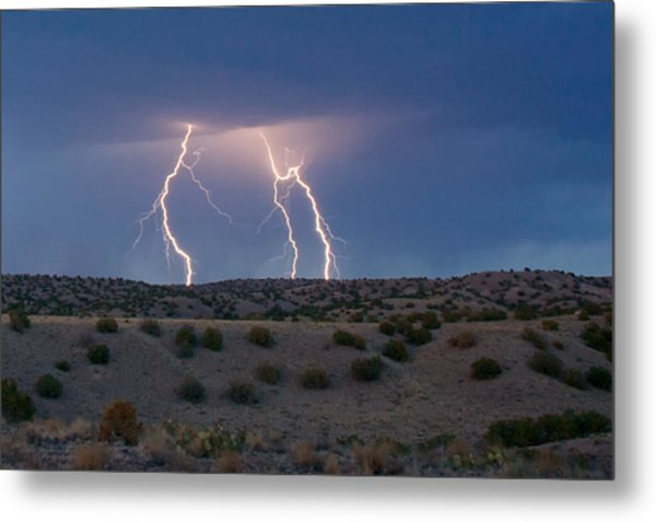 Metal Print featuring the photograph Lightning Dance Over The New Mexico Desert by Mary Lee Dereske