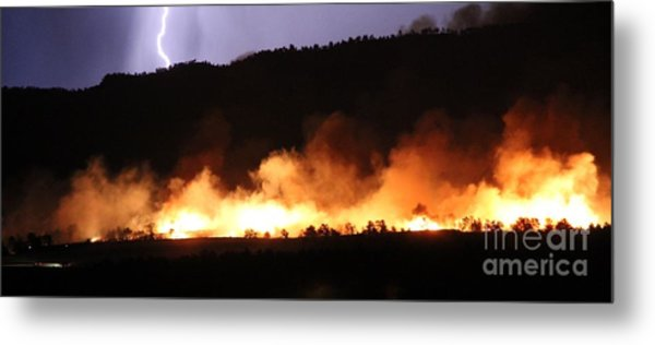 Lightning During Wildfire Metal Print