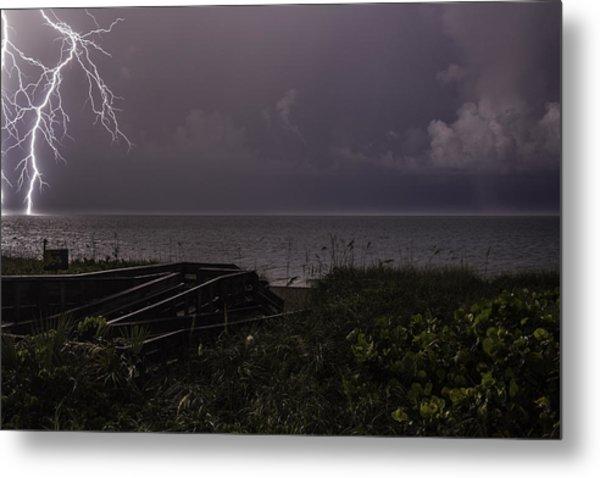 Lightning On The Water Metal Print