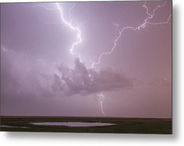 Lightning Over Cheyenne Bottoms Metal Print