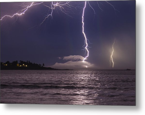 Lightning Over Prout's Neck Metal Print