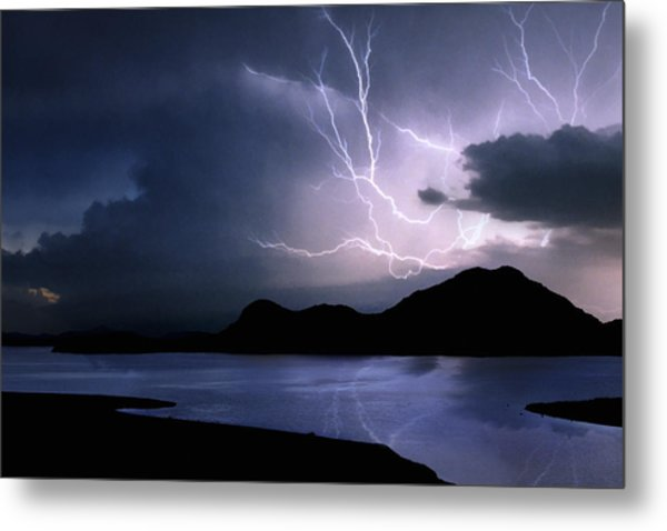 Lightning Over Quartz Mountains - Oklahoma Metal Print