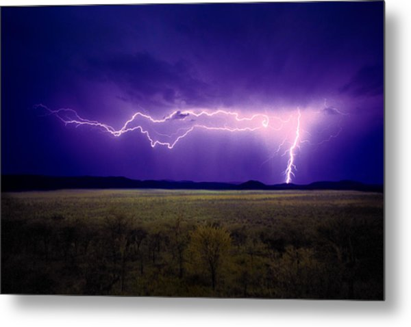Lightning Serengeti Metal Print