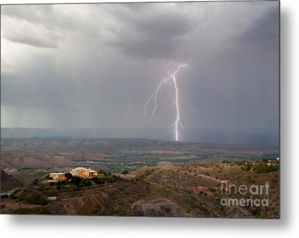 Lightning Storm Over The Verde Valley As Seen From Jerome Arizona Metal Print